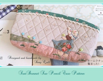 DIY digital pdf sewing pattern / tutorial Sunbonnet Sue Pencil case / make up pouch