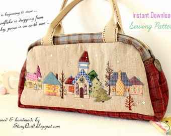 DIY PDF Pattern tutorial Japanese patchwork quilted house applique shoulder | Boston bag handbag pattern, wall hanging