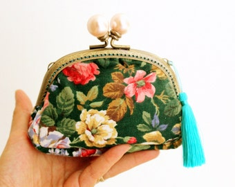 lavish floral purse | Vintage clutch purse | gift for her | clutch purse | floral coin purse | clutch wallet | evening clutch