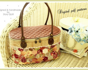Diy pdf pattern tutorial japanese patchwork quilted house diy digital pdf bag pattern hexagon patchwork quilted basket bag handbag tote bag publicscrutiny Image collections