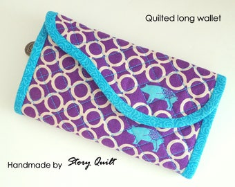 handmade wallet | Quilted long wallet | long purse | clutch wallet | women's wallet | women's clutch | linen wallet