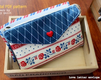 Envelope clutch multiple pockets clutch sewing pattern | pdf sewing pattern | tutorial |  handbag sewing pattern |  zipper bag Pattern