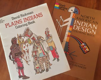 70s 80s Vintage UNUSED Coloring Books North American Indian Design Plains Indians SET OF 2