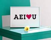 AEI love U, AEIOU, Vowels Print, Black and Pink Poster, Valentines Day Print, Screenprint, Positive Artwork, Love Print, 8.3 x 11.7, A4 Size