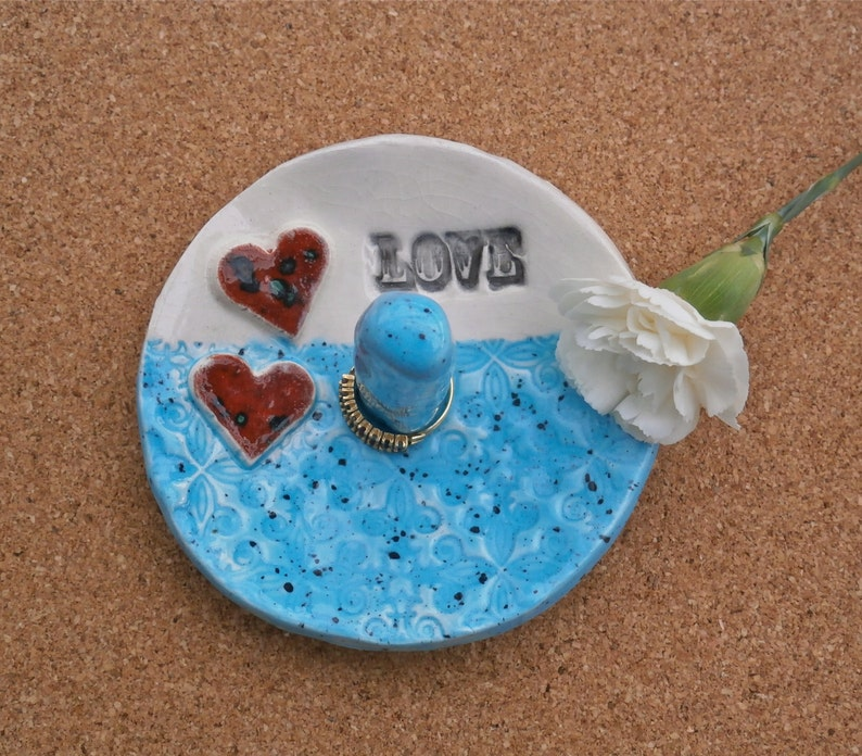 Pottery jewellery catcher Blue ring dish with hearts and love Clay jewelry bowl ceramic jewelry holder Sky blue ring stand