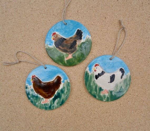 Ceramic Chicken Ornament Hen Hanging Ornament White Or Brown Etsy