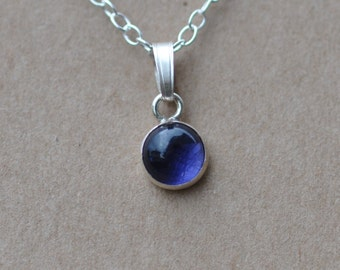 Blue Iolite Pendant handmade with Sterling Silver Chain, 6 mm Gemstones and fine silver necklace