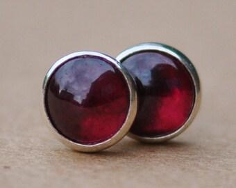 Garnet Earrings with Sterling Silver Studs. 5mm Garnet gemstones with silver settings