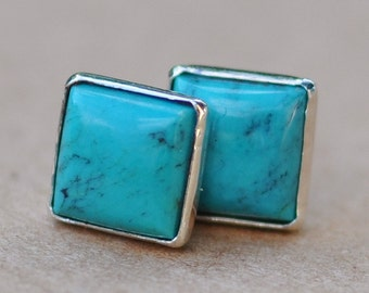Square Turquoise Earrings, Sterling Silver studs, 6mm gemstones birthstone jewelry gift december birthday, men and womens jewellery, summer
