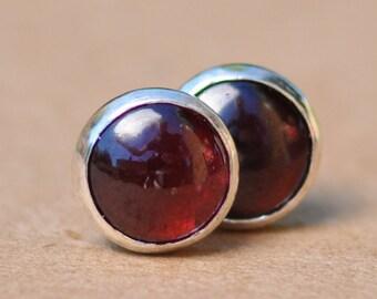 Garnet Earrings with Sterling Silver Studs. 8mm Garnet gemstones with silver settings