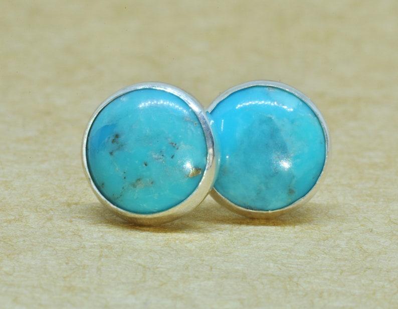 c3734d016 Turquoise Earrings December Birthday earrings 8mm in genuine | Etsy