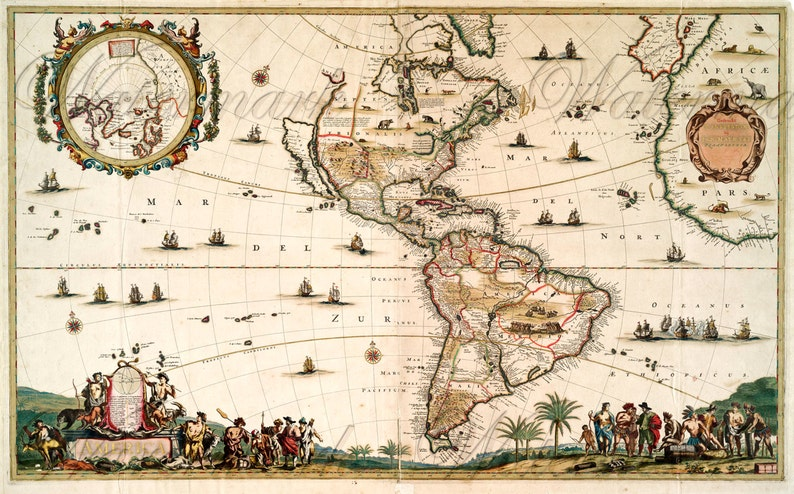 America World Map 1650 Download Scan Of An Old Original Map Etsy