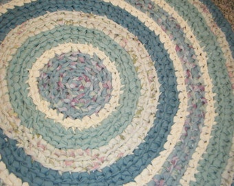Crocheted Fabric Rug in Sea Green - for Etsy