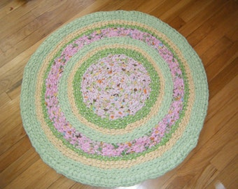 Sweet Handmade Rug in Lime Green, Pink and Yellow\\Spring Rag Rugs