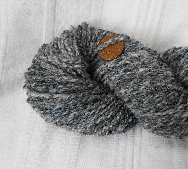 Handspun marled indigo wool yarn