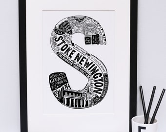 Stoke Newington print - London print - London poster - London Art - Typographic Print - London illustration - letter art