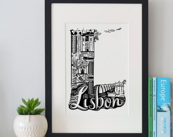 Best of Lisbon print -Typographic Print - letter art - housewarming gifts - European Gifts  - Wall art - travel poster