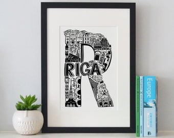 Best of Riga print -Typographic Print - letter art - housewarming gifts - European Gifts - Wall art - Latvian poster