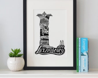 Best of Luxembourg print -Typographic Print - letter art - housewarming gifts - European Gifts  - Wall art - travel poster