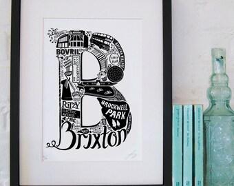 Best of Brixton - London print - London poster - London Art - Typographic Print - London illustration - letter art - South London poster