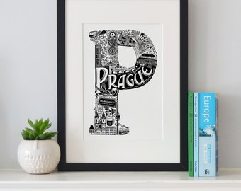 Best of Prague print -Typographic Print - letter art - housewarming gifts - European Gifts