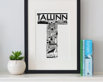 Best of Tallinn print -Typographic Print - letter art - housewarming gifts - European Gifts - Wall art - travel poster