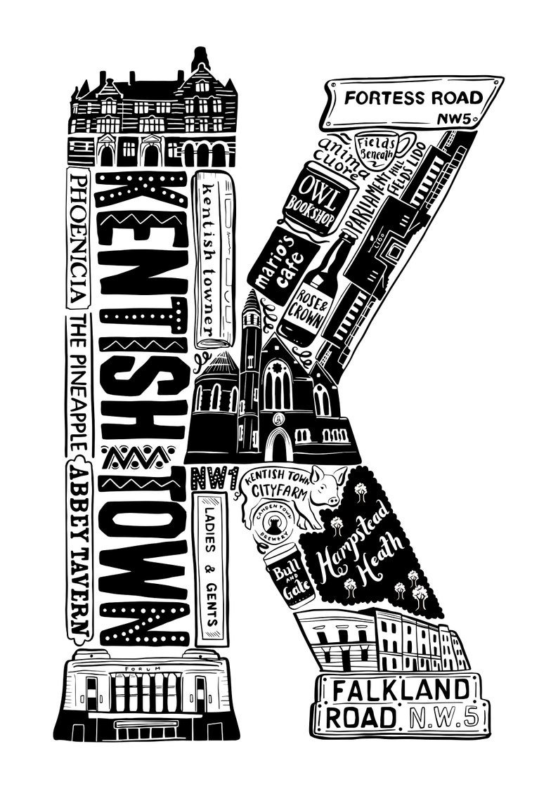 Anniversary paper gift Kentish Town gift Housewarming present for Londoners Kentish Town poster Best of Kentish Town print