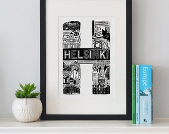 Best of Helsinki print -Typographic Print - letter art - housewarming gifts - European Gifts  - Wall art - travel poster