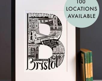 Bristol print  - Graduation gift - University town - Typographic art - Bristol poster - Bristol artwork