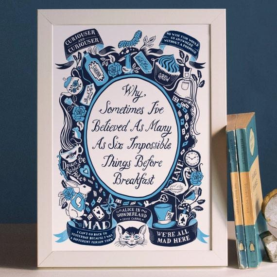 Alice Nel Paese Delle Meraviglie Vivaio Famose Citazioni Stampa Regalo Di Battesimo Stampa Nursery Decor Arte Per Bambini Libro Per Bambini