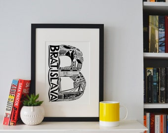 Best of Bratislava print -Typographic Print - letter art - housewarming gifts - European Gifts - Wall art - travel poster