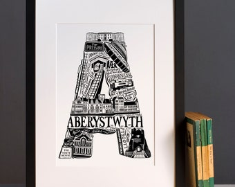 Aberystwyth print -  Graduation gift - University town - Typographic art - Welsh artwork - Wales print