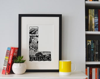 Best of Ljublijana print -Typographic Print - letter art - housewarming gifts - European Gifts