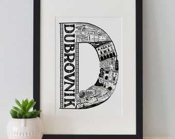 Best of Dubrovnik print -Typographic Print - letter art - housewarming gifts - European Gifts  - Wall art - travel poster