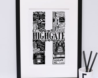 Highgate print - London print - London poster - London Art - Typographic Print - London illustration - letter art