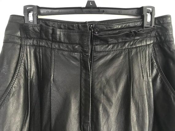 Vintage 1980s Paper Bag Waist Leather Pants