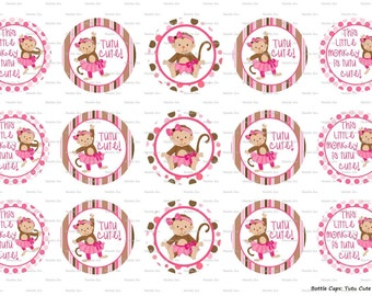 "15 Tutu Cute Monkey 1 Digital Download for 1"" Bottle Caps (4x6)"