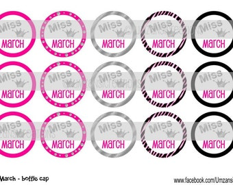 "15 Miss March Digital Download for 1"" Bottle Caps (4x6)"