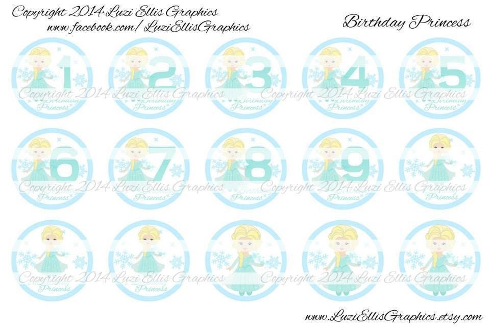Snow Princess Birthday Numbers 1 Download For 1 Bottle Etsy