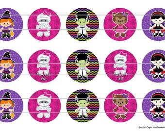 """15 Halloween Kids 1 Digital Download for 1"""" Bottle Caps (4x6)"""