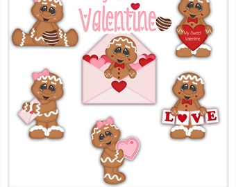 Sweet Valentine's Day Ginger 1 Clipart (Digital Download)