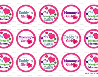 """15 My Heart Belongs to Mommy/Daddy Digital Download for 1"""" Bottle Caps (4x6)"""