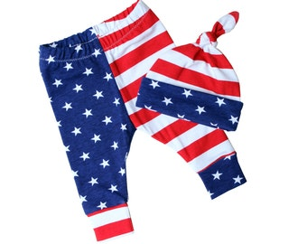 Baby American flag pants - Baby leggings and top knot hat - Toddler leggings for boy - Newborn leggings - Baby leggings and hat