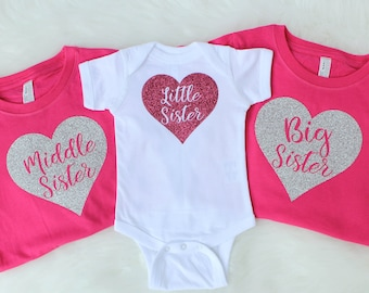 Big Sister Little Sister Outfit - Sister Outfits for Pictures - Big Sister Shirt - Little Sister Outfit - Middle Sister Shirt - Sister Shirt