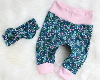 Floral Leggings Baby - Leggings and Headband - Coming Home Outfit Girl - Floral Leggings - Take Home Outfit - Leggings and Bow - Baby Girl