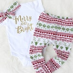 Babys First Christmas Outfit Girl - Red Green Christmas Outfit - Baby Girl Christmas Outfit - Christmas Outfit for Newborn Girl - Girl Xmas