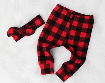 Buffalo Plaid for Baby Girl - Leggings and Top Knot Headband - Girl Buffalo Plaid - Newborn Buffalo Plaid - Toddler Buffalo Plaid