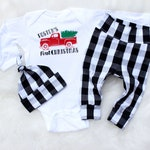 Baby Boy First Christmas Outfit - Personalized Pajamas - Buffalo Check - Buffalo Plaid Baby - Red Christmas Truck