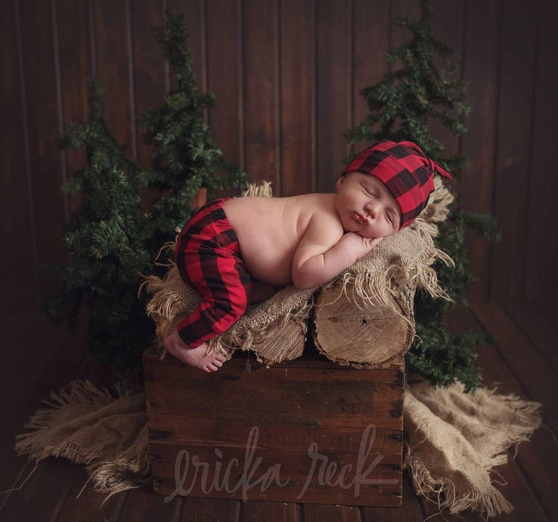 Lumberjack baby outfit  Modern baby leggings and hat  Baby image 0