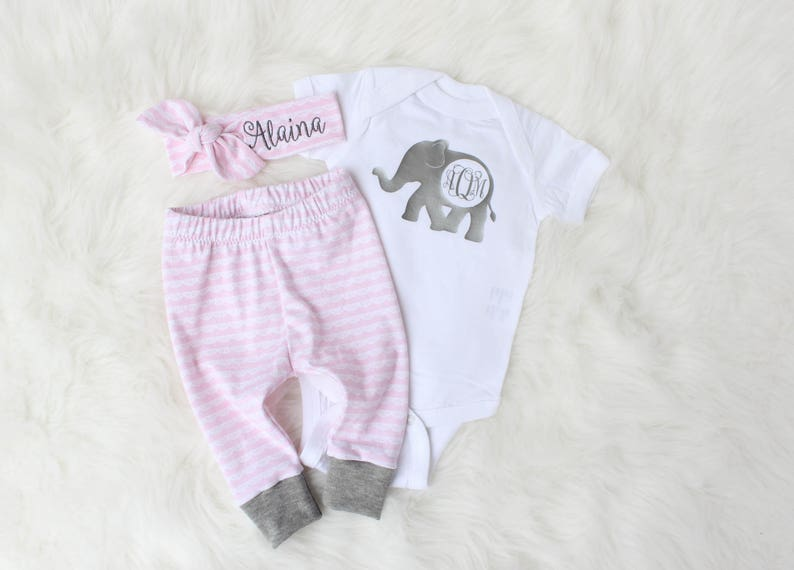 Personalized Name Outfit for Baby Girl  Pink and Grey Outfit image 0
